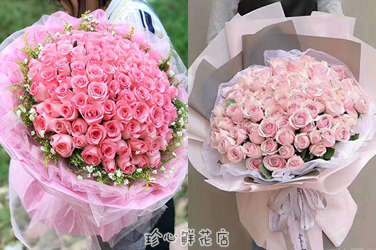 99朵的粉玫瑰花束,适合作为求婚的花
