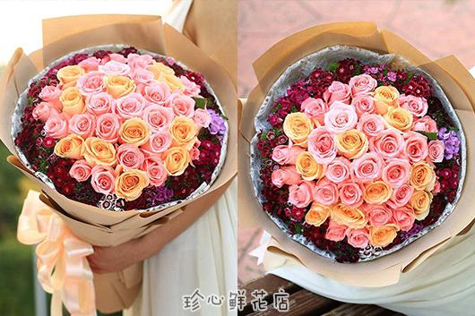 最近花店卖的玫瑰花花束图片