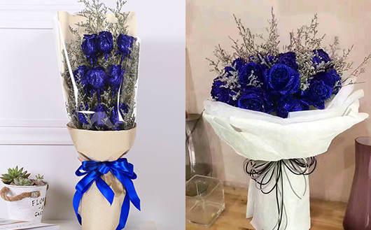 情人节送什么花最合适-蓝色妖姬花束礼盒