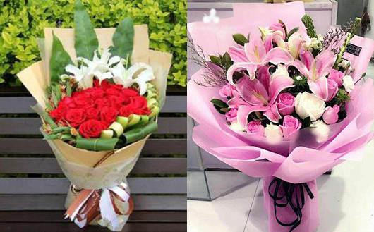 同城快递送鲜花-玫瑰百合组合的花束