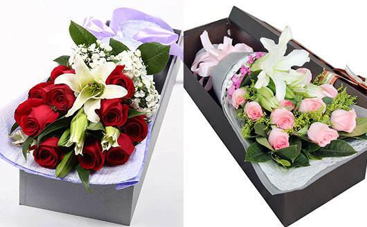同城快递送鲜花-玫瑰加百合的礼盒