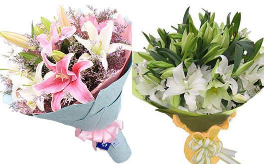 情人节异地送花怎么送-百合花