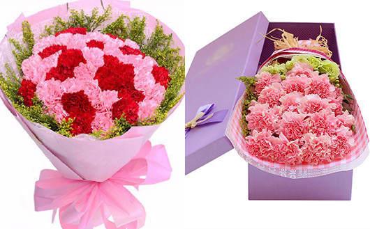 送孕妇礼物送什么好-红色康乃馨和粉色康乃馨搭配的鲜花礼品