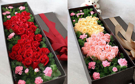 求婚必备-双心形玫瑰礼盒