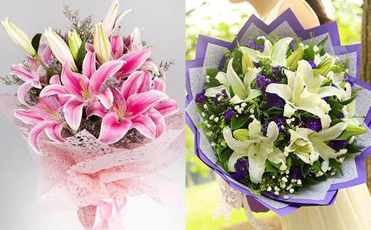 孕妇送花送百合花