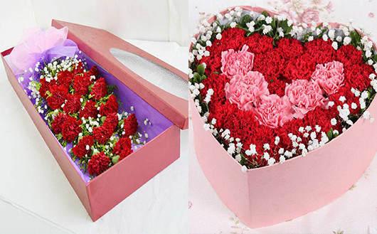 送产妇的花-康乃馨搭配满天星的礼盒