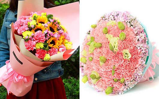 坐月子送什么花-康乃馨向日葵混搭花束