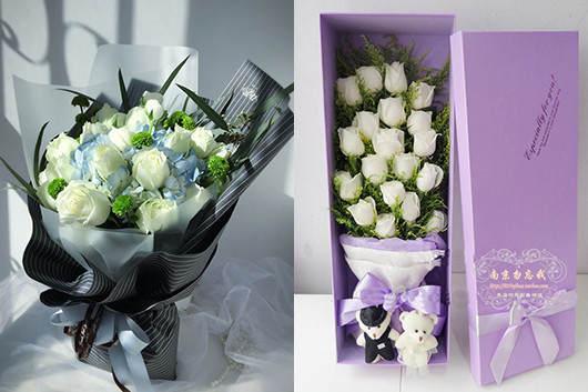 妻子生日送花-送白玫瑰礼品