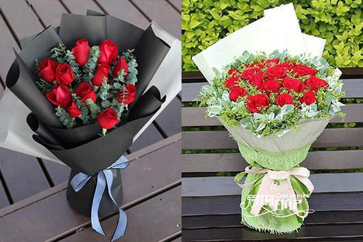情人节花店出品的红玫瑰花束