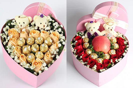 哪里有卖花的-玫瑰巧克力心形礼盒