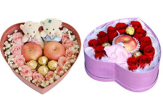 给孕妇送什么花-玫瑰花+巧克力心形礼盒装