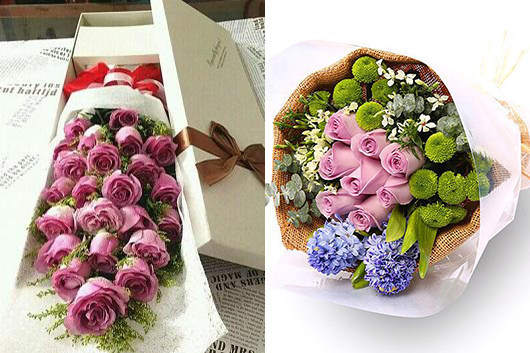 这附近哪里有花店-附近花店出品的紫玫瑰图片