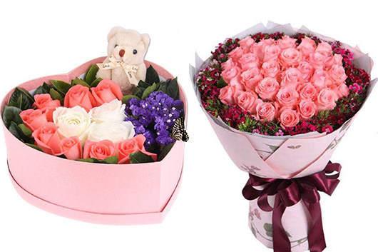 万达附近有花店吗粉玫瑰礼盒花束