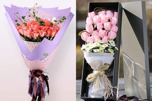 情人节花店的粉玫瑰
