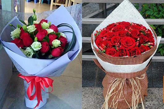 同城鲜花网的玫瑰花束成品