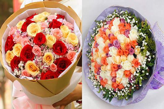 多种玫瑰搭配而成的礼品花束