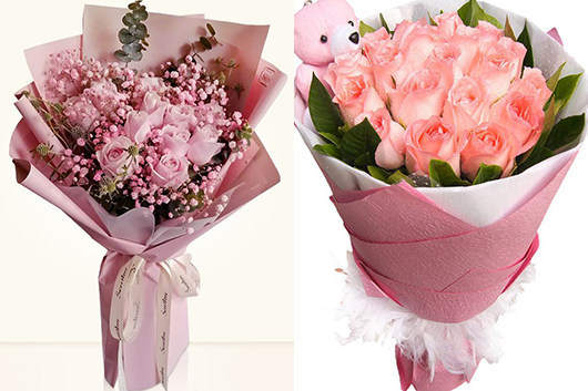 同城订花送花-粉玫瑰花束图片