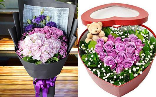 妻子生日送花-紫玫瑰