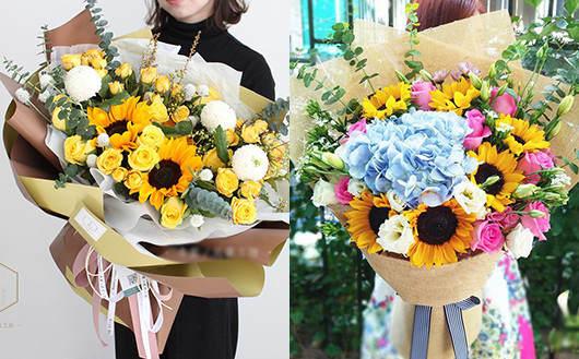 向日葵搭配的花束-订花网哪个好