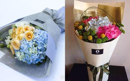 多种花材搭配而成的老婆花