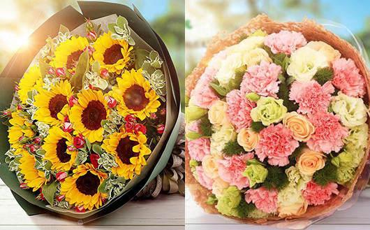妈妈生日送什么-向日葵和康乃馨花束