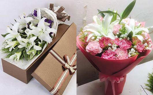 妈妈生日送什么-百合康乃馨混搭的花束