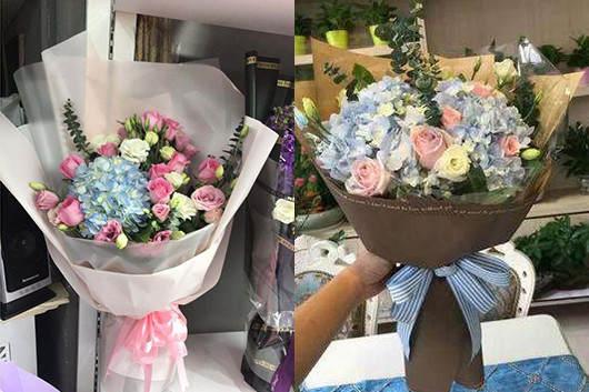 适合送产妇的礼物绣球和玫瑰的花束