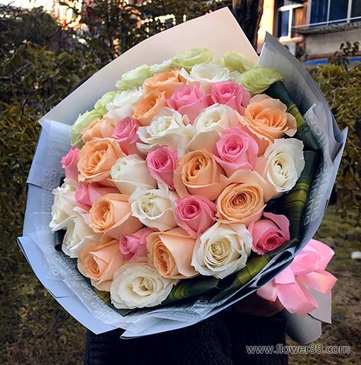 好好珍惜 - 33朵混搭玫瑰生日鲜花