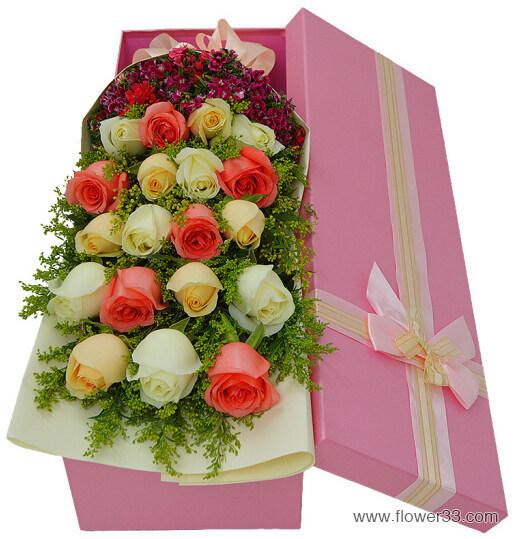 开心乐无边 - 19朵混搭玫瑰礼盒
