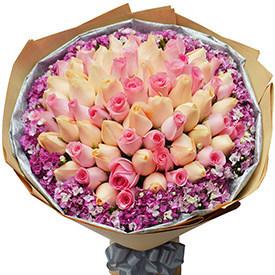 送花给女生-混合玫瑰花束