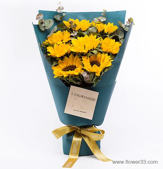 阳光普照 - 向日葵鲜花精品花束