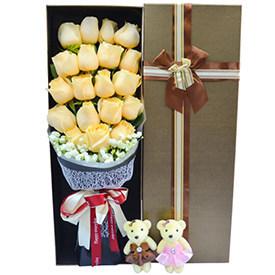 生日送花送几朵-19朵香槟玫瑰