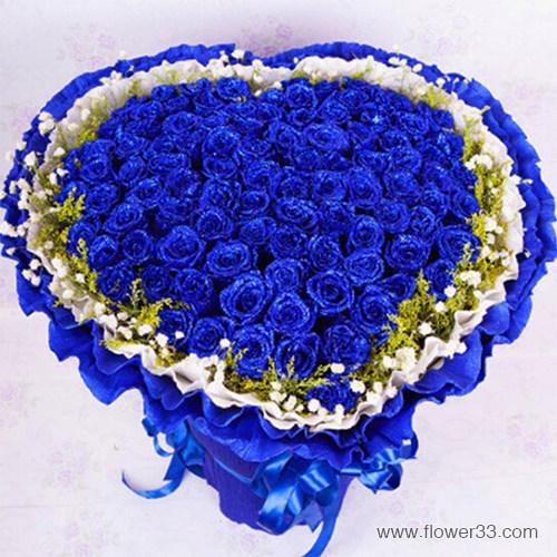 品尽甜蜜 - 99朵蓝色玫瑰花束心形鲜花