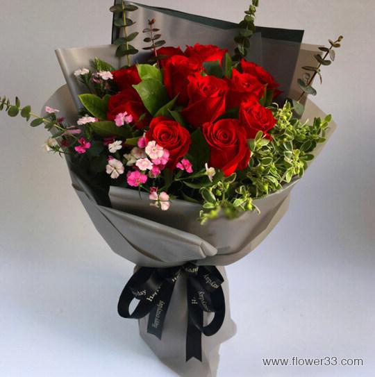 非常热恋 - 11朵红玫瑰花束