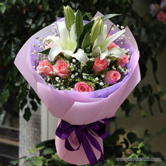 美丽花园 - 花束玫瑰百合