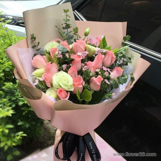 快乐音符 - 订购玫瑰鲜花粉玫瑰花束