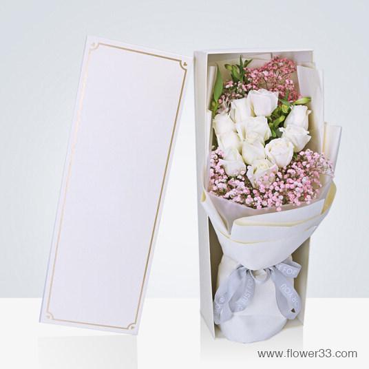 群星环绕 - 创意鲜花礼品白玫瑰