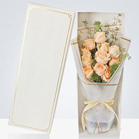 香槟玫瑰花束-过生日送什么鲜花好