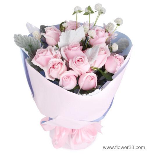 粉色温馨 - 11朵粉玫瑰花束