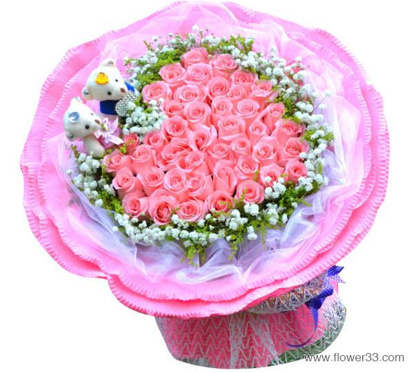 你在我心窝 - 粉玫瑰心形花束