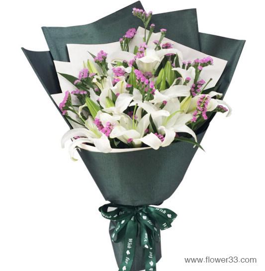 美好相伴你左右 - 百合鲜花花束