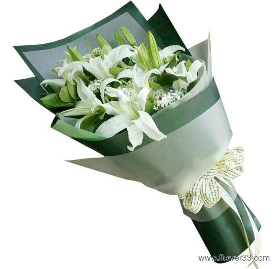 快乐传递 - 漂亮的百合花束
