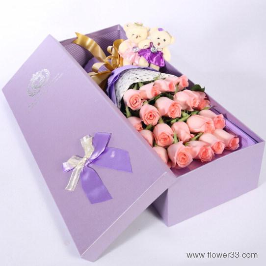 爱你永不变 - 19支玫瑰礼盒/盒装鲜花