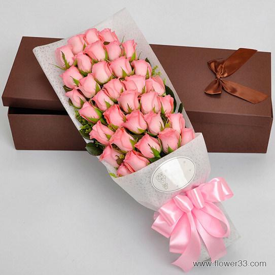 柔情似水 - 33朵粉玫瑰花礼盒/盒装鲜花礼品