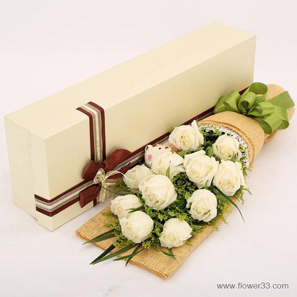 我的公主 - 11朵白玫瑰礼盒鲜花