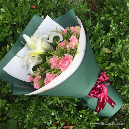有你很精彩 - 康乃馨配百合鲜花