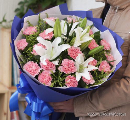 感谢相遇 - 粉康乃馨百合花束