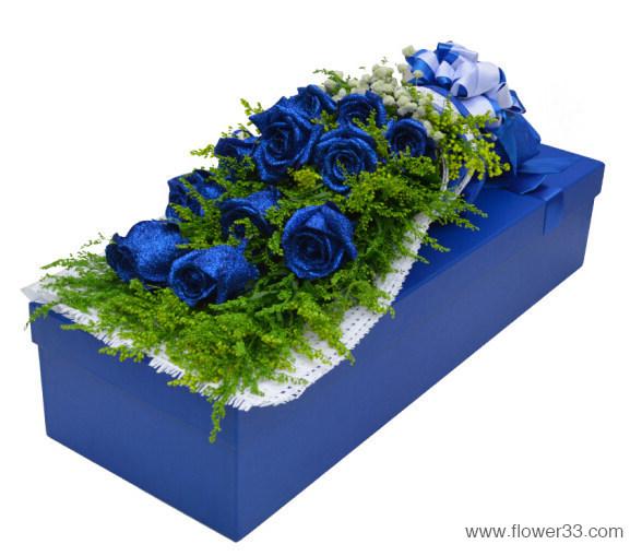 花中飞舞 - 11朵蓝色妖姬礼盒/盒装鲜花
