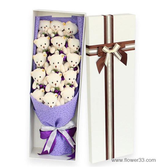 浓浓心意 - 小熊鲜花礼盒