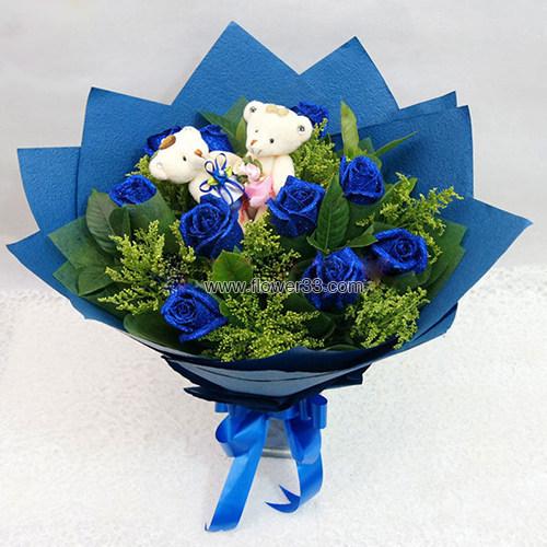 二人花园 - 11朵蓝色妖姬花束